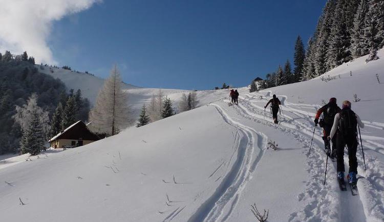 Aufstieg auf die Loibersbacher Höhe - Tourenschilehrpfad