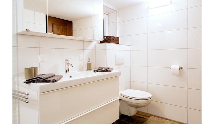 Badezimmer mit Waschbecken und Unterschrank, Spiegelschrank, mit Toilette