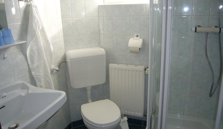 Hell eingerichtetes Badezimmer mit Dusche, WC und Waschbecken