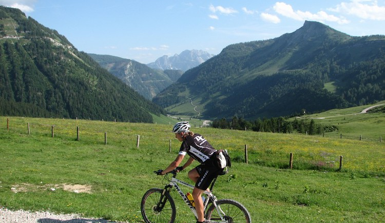 Mountainbikerin mit Panorama. (© FTG)