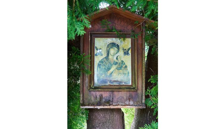 Blick auf ein Holzmarterl mit Marienbild auf einem Baum