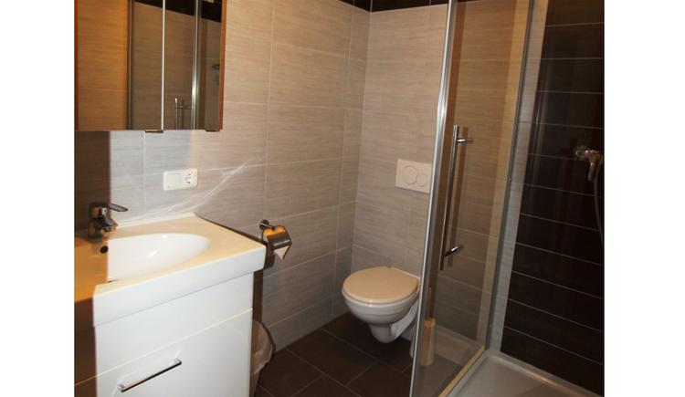 Badezimmer mit Waschbecken, Toilette, seitlich eine Duschkabine