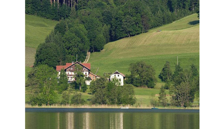 View of the house from the lake, surrounded by the countryside - trees