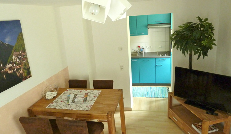 Das Wohnzimmer und die Küche des kleinen Apartments.