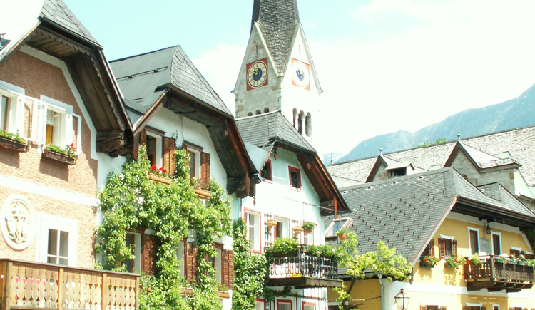 The historic market place in Hallstatt is directly in front of your door.