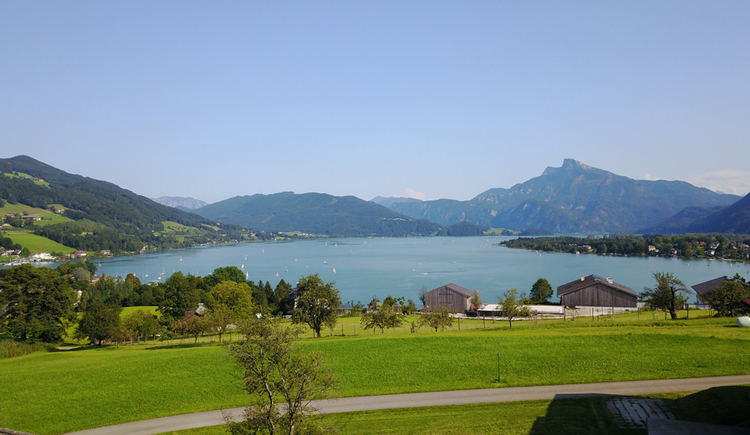 View from the balcony across lake Mondsee