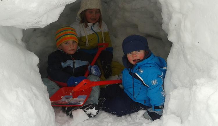 Schneehöhle,Schnee,Rodeln Schifahren, Kinder, Bauernhof