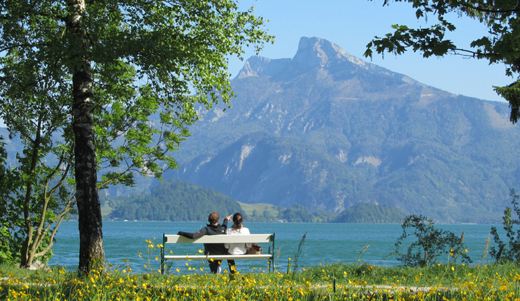persons are sitting on a bench, lake and mountains\n
