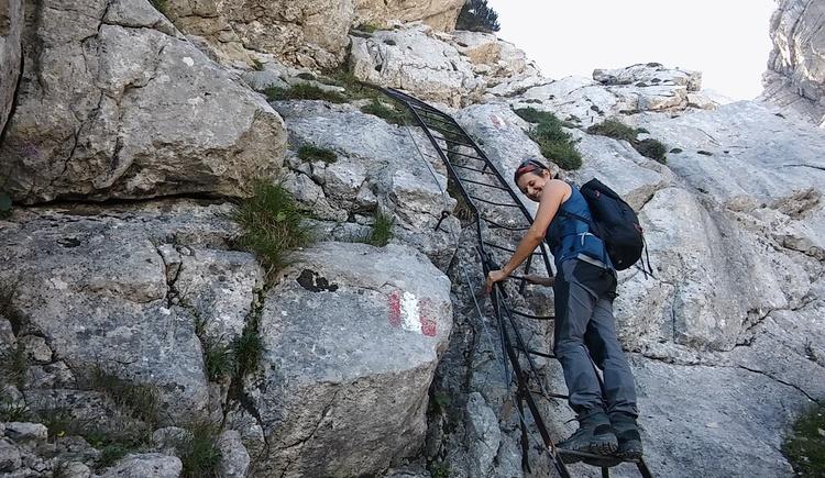 Kletterleitern, Sicherungsseile an den gefährlichsten Stellen.