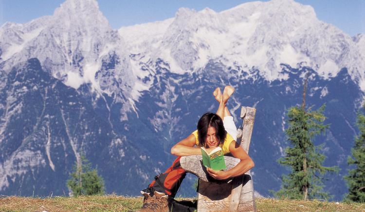 Wandern bei Hinterstoder: Pause auf Huttererböden