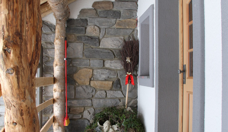 The entrance to the Alpenchalet has been decorated with great attention to detail.