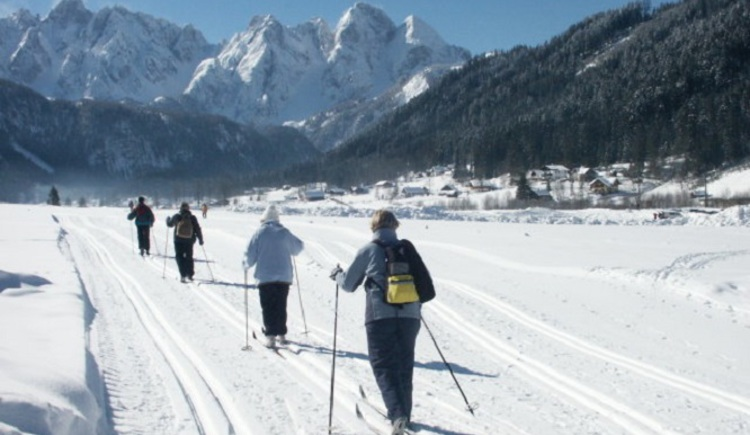 The cross country skiing slope of Gosau passes our house