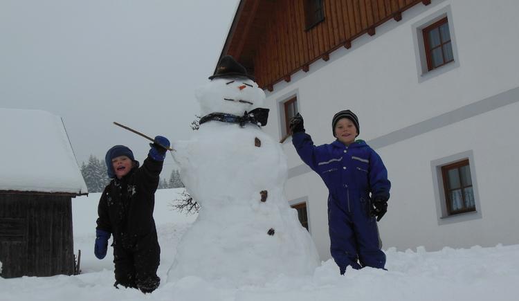 Schneeman, Winterspaß, Kinder