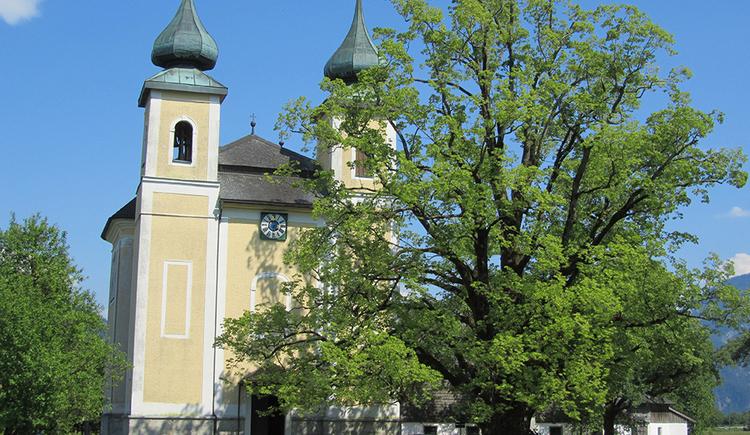 Rechts eine alte, schon etwas schüttere Linde, links daneben die Kirche von St. Lorenz. Gelbe Fassade, zwei Zwiebeltürme in der Mitte das Portal, darüber eine Uhr, darüber ein Kreuz.