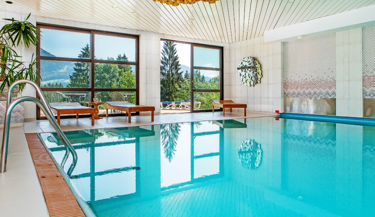 Relax in the indoor pool with panoramic windows