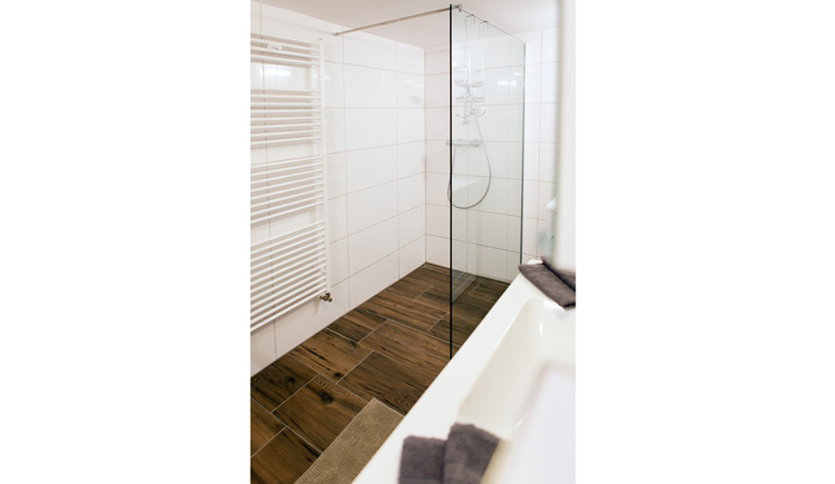 Bathroom with shower, side of a towel dryer