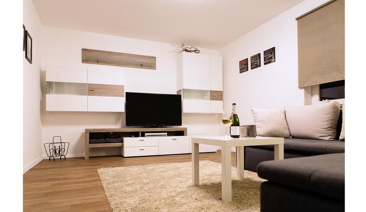 Wohnbereich mit Couch und kleinem Tisch, im Hintergrund Regale und Fernseher