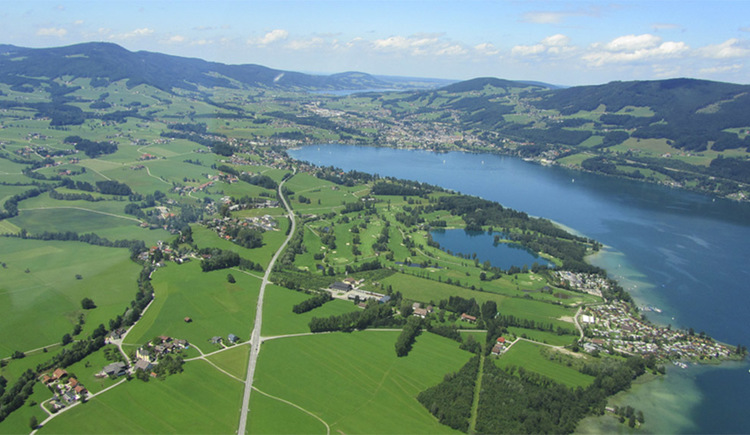 Picture of Drachensee (Dragonlake) and Mondsee (Moonlake), scenery around those lakes and mountains in the background
