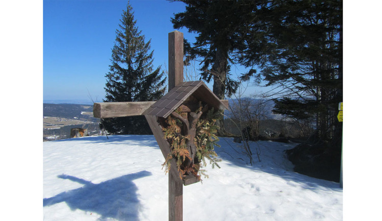 snow, trees, cross
