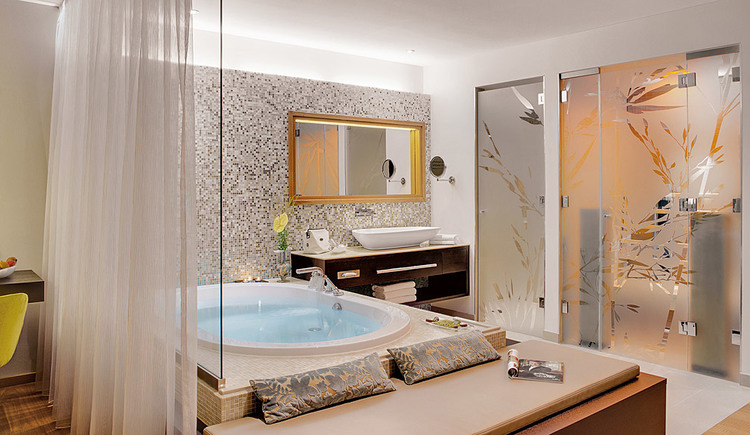 Modernes Doppelzimmer im Hotel Kremstalerhof