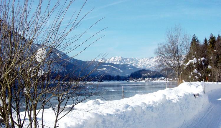 Ostuferwanderweg entlang des Hallstättersees mit traumhafter Winterlandschaft