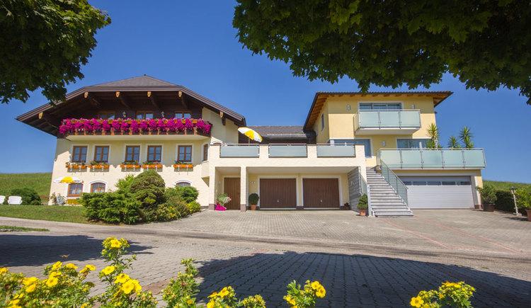 Blick auf das Haus mit Balkonblumen, davor die Einfahrt und Wiesne