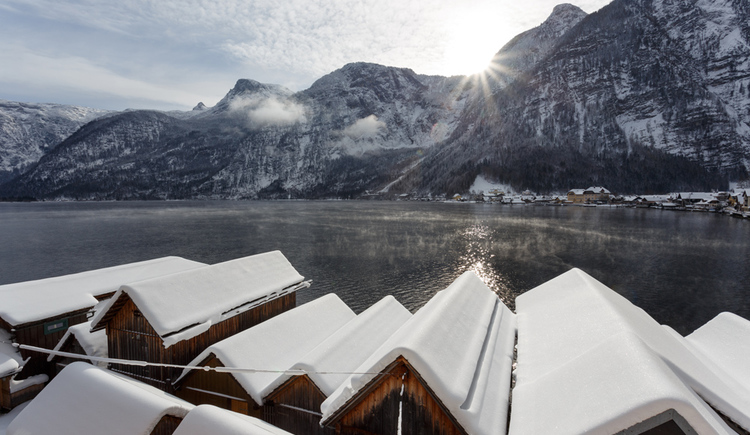 The incredible view out of the comfort Studio of the Apartment Hallberg in Hallstatt
