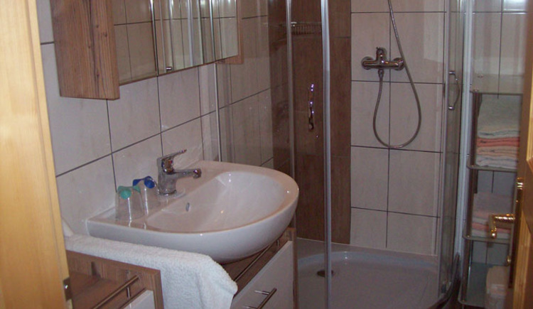 On the side you have a sink with a mirror cabinet. In the Background the shower and towels are visible.