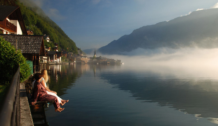 Morning fog with a nice view of to the Center of Hallstatt