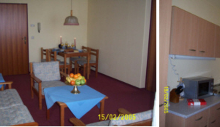 Hier sieht man das Wohnzimmer und die Küche.