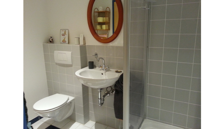 look at the bathroom with toilet, mirror and sink