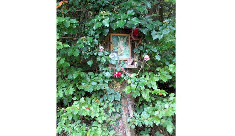 Blick auf ein Schutzengelbild an einem Baumstamm umgeben von Blätter