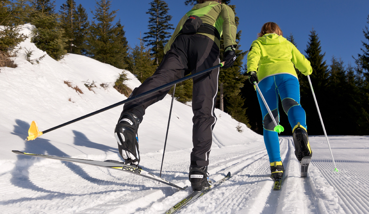Two cross-country skiers on the trail