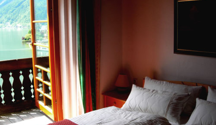 The bedroom of the Houes Cian in the City Center of Hallstatt