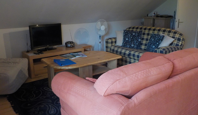 Comfortable living area with cosy sofas and satellite TV.