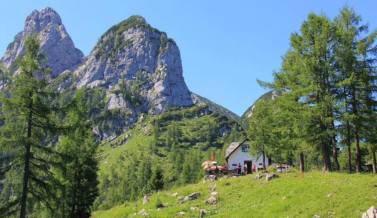 im Hintergrund sieht man den Vorderen und Hinteren Rauhenkogel, wo der Klettersteig verläuft. (© Naturfreunde Ebensee)