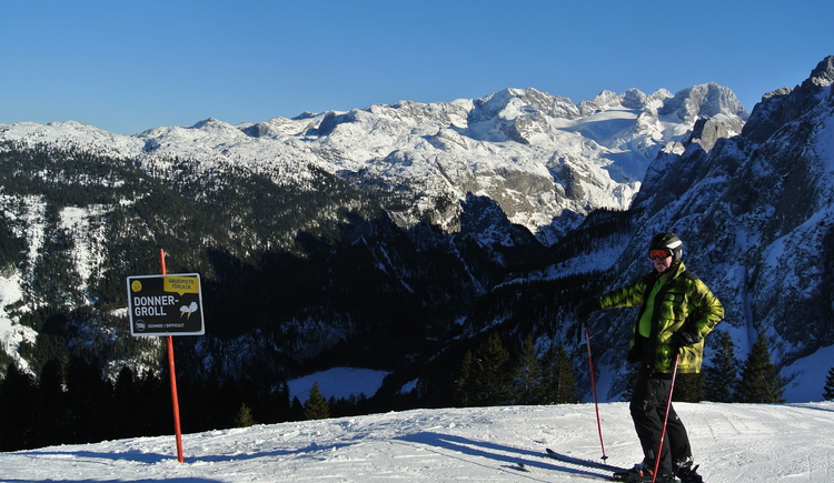 skier in front of the piste thunder rumble