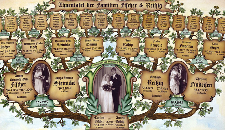 Stammbaum mit ein paar Fotos von Brautpaaren