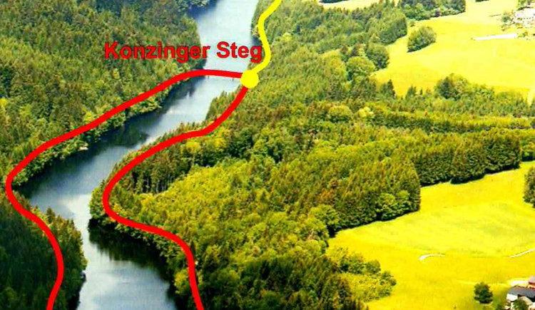 Skizze Kneipp- und Fitnessweg entlang des Rannastausees. (© Tourismusverband Oberkappel)