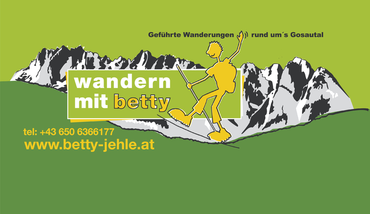 Logo with a hiker and the Gosaukamm of Betty.