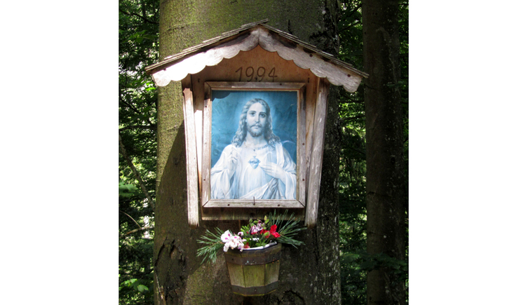 View of a holy picture on a tree, flowers below