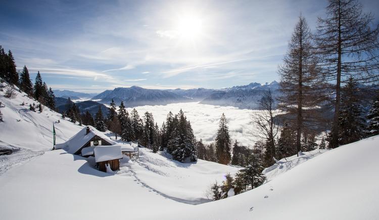 Winter auf der Katrin_Katrin Almhütte (© Daniel Leitner)