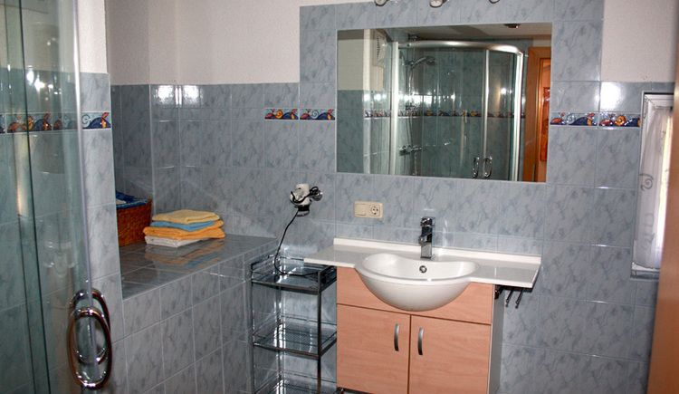 ... with washbasin, mirror and shower