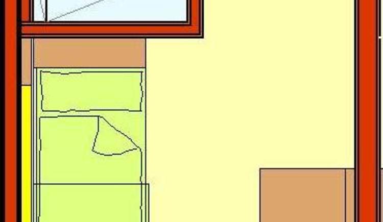 Zimmer mit Einzelbett Badezimmer mit Dusche und WC, TV, Schreibtisch sowie Balkon oder Terrasse mit atemberaubenden Panorama-Weitblick zur Donau und in die Strudengauer Naturlandschaft