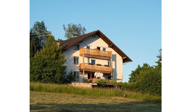 Blick auf das Haus, im Vordergrund Wiesen, seitlich Bäume
