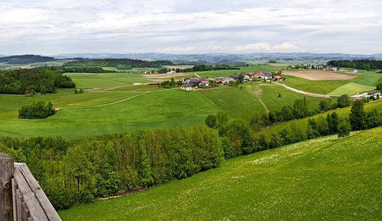 Panoramaaufnahme Donausteig - Blick auf Kirchberg.