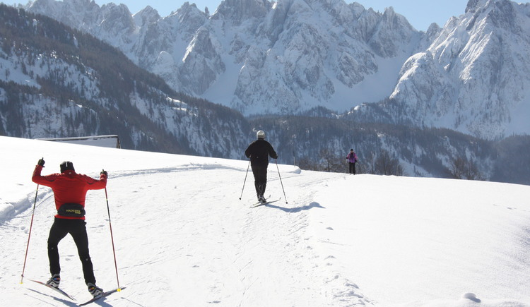 Sunny day on the cross country ski track with a view of the Mountain Dachstein. (© Grill Elisabeth)