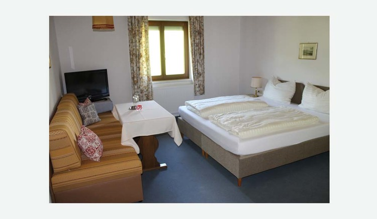 Room with double bed, a couch, table, TV, in the background a window