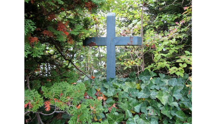 Blick auf ein Kreuz verwachsen von Büschen