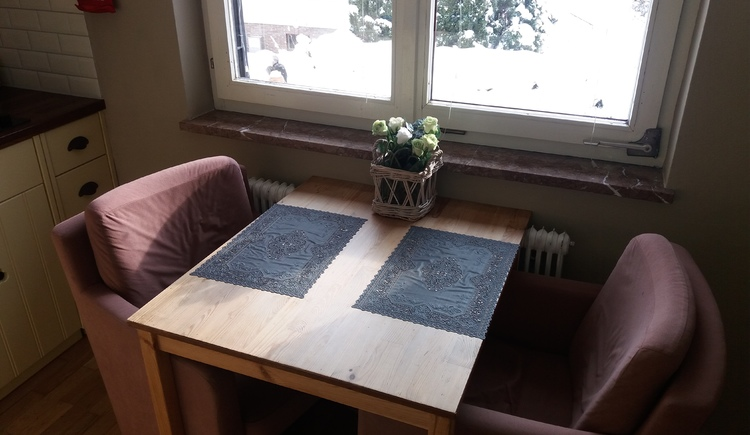 Small fine dining area of the apartment on the 1st floor for 2 persons